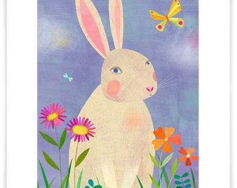 Forest Adventure Rabbit, Giclee Art Print, Woodland Series, Nursery Decor