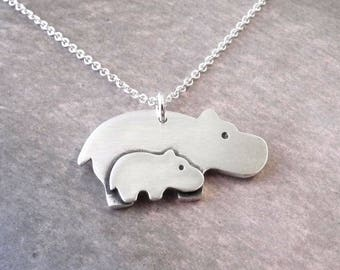 Mother and Baby Hippo Necklace, New Mom Necklace, Mother and Child Jewelry, Fine Silver, Sterling Silver Chain, Made To Order