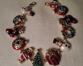 CHRISTMAS BRACELET / Bangle / Santa / Snowman / Wreath / Stocking / Ornament / Present / Gold / Holidays / Seasonal / Retro / Chic Accessory