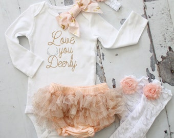 Holiday Love you Deerly Baby Set. Newborn Girl Coming Home Outfit up to 4 Items, Tutu Diaper Cover, Leg Warmers, Bow Bodysuit. Peach Gold