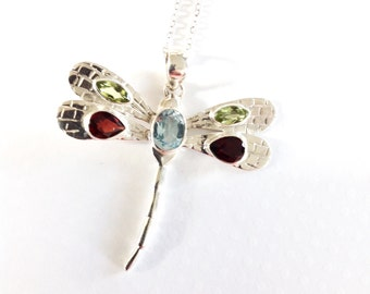 Long necklace, Pendant necklace,Dragonfly pendant necklace, Birthstones necklace, gemstone necklace, gift for her mom wife gift