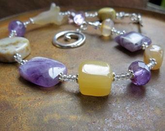 lavender amethyst silver bracelet. MAGIC. carnelian ocean jasper bracelet. star sign ARIES bracelet. yellow purple bracelet. Zodiac jewelry.