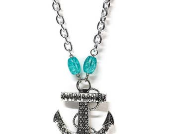 Large Silver Anchor Aqua Beaded Necklace