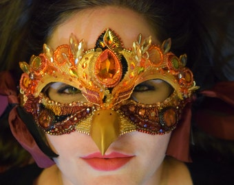 """Fire Phoenix Mask, Masquerade Ball Fire Bird Mask, Bead Embroidery Festival Mask, Hand made OOAK mask, """"The Crystal Phoenix"""", FREE shipping"""