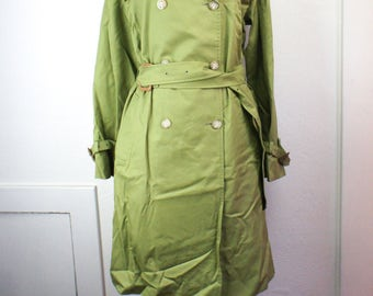 Vintage Green Mackintosh Coat Women's Large, Silk Lined, Cotton Shell, Outerwear, Classic Trench Coat Overcoat Rain Jacket, Made In Scotland
