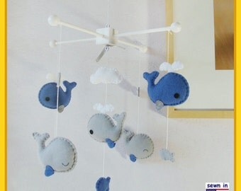 Baby Mobile, Whale Mobile, Nursery Decor, Custom Mobile, Neutral Mobile, Under the Sea Mobile - Cadet Blue Gray