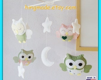 Baby Mobile, Owl Nursery, Nursery Decor, Pink n Sage Owl Mobile,White Starry Night Mobile, Ceiling Hanging Mobile, Custom Mobile