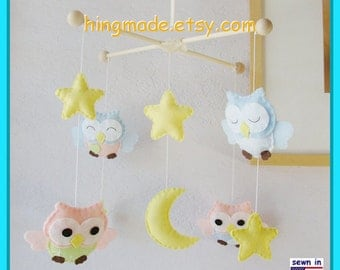 Baby Crib Mobile, Owl Mobile, Nursery Decor, Neutral Mobile, Mint Pink and Blue Nursery, Moon and Stars Cot Mobile, Custom Mobile