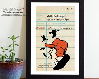 Catcher in the Rye, J.D. Salinger, Vintage Library Card Art, Book Art, Silhouette Print, Holden Caulfield