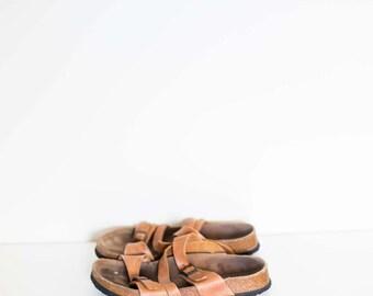 BIRKENSTOCKS brown suede leather buckle strap sandals - women's size - 7 size 39