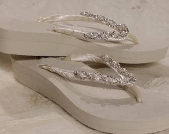 Low Ivory Flip Flops or White Flip Flops with Pearls and Rhinestones Bridal Flip Flops Beach Wedding Sandals Ivory Bridal Sandals Ivory