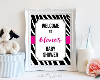 Zebra Baby Shower Welcome Sign, Hot Pink And Black Animal Print  Personalized Shower Welcome Sign