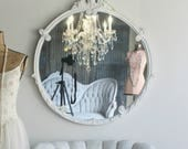 A N T I Q U E, Old Hollywood Round Mirror Romantic Cottage Home Decor