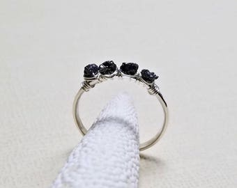 Raw Diamond Ring, Black Diamond, Uncut Diamond Ring, Rough Diamond, Minimalist Diamond Ring, April Birthstone:Delicate Not For Every Day Use