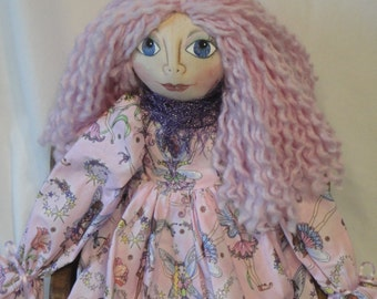 OOAK art doll, cloth art doll, doll in pink fairy dress, whimsical fanasty cloth doll, collectible hand made art doll, fairy art doll