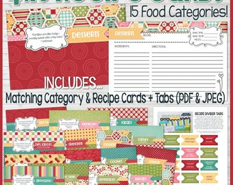Printable RECIPE CARDS (Red), 4x6 Recipe Card Kit, Recipe Printables, Recipe Box, Recipe Card Box, Recipe Card Dividers - Instant Download