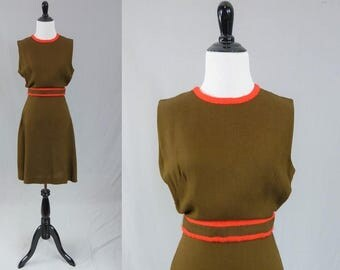 60s Eve le Coq Dress - Brown Red Trim - Sleeveless - Full Skirt - Vintage 1960s - S M