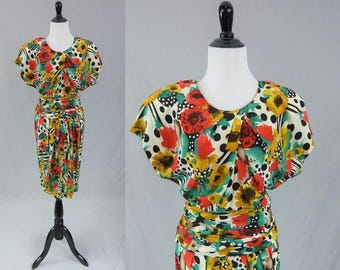 80s Silk Floral Dress - Bold Wild Print of Flowers and Polka Dots - Pat Argenti - Vintage 1980s - S M