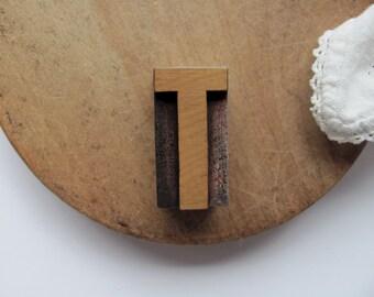 Vintage Letterpress Letter T Printer Block T Initial Alphabet Wood Type Industrial Stamp T Name Graphics Blonde Wood Letter Block Home Decor