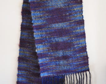 Handwoven Multi Color Space Dyed Wool and Rayon Scarf, Blue, Maroon and Gold Woven Shawl, Hand Woven Wrap Scarf