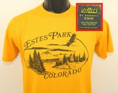 Estes Park Colorado vintage t-shirt XS/Small yellow 80s soft thin Jerzees Russell