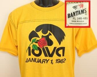Iowa Hawkeyes 1982 Rose Bowl vintage t-shirt XL yellow 80s Bantams college football