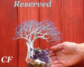 ItEm Not for sale, Reserved for SW, Grand Old Tree, Amethyst Quartz Crystal, green Peridot, yellow Citrine, unique home decor handmade art