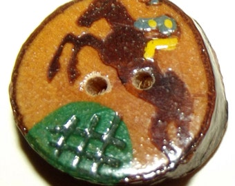 Vintage Button Fun Wood w/ Steeple Chase Jockey and Horse