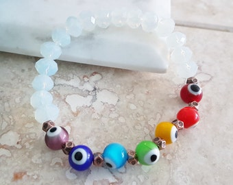 Chakra Balance/ Energy and Protection, Evil Eyes with Crystal Rondelle and Copper Stretch Bracelet