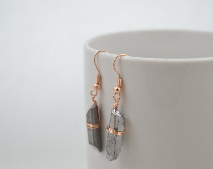 Silver Titanium Quartz Crystal Point Earrings