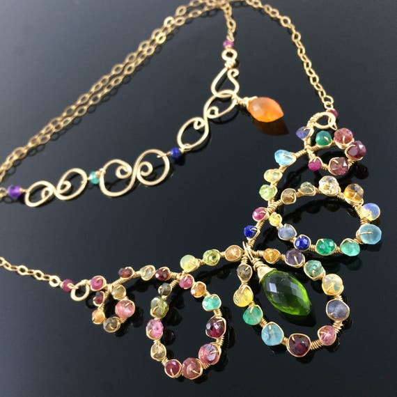 Statement Necklaces Wholesale Gold Gemstone Collar Adjustable Chain Multicolor Choker Rainbow Jewelry Fine Wire Wrapped Collar Necklace Bib
