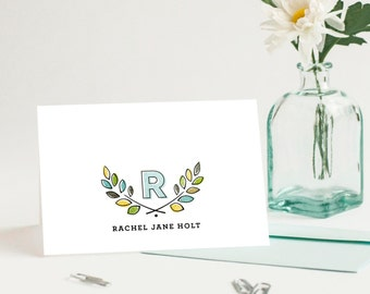 Monogrammed Personalized Note Cards, Women's Custom Stationery // FRESH LAURELS