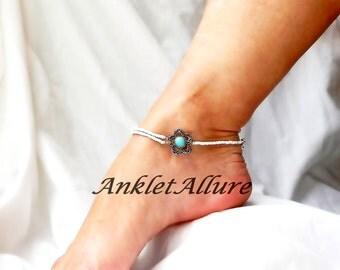 Flower Anklet Double Ankle Bracelet Western Anklet Body Jewelry Silver Foot Jewelry