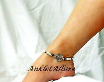 Marble Anklet Blacken Silver Ankle Bracelet Steam Punk Jewelry Body Jewelry
