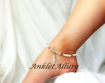 Seahorse Anklet Red Ankle Bracelet  Beach Anklet Cruise Accessories Beach Resort Jewelry