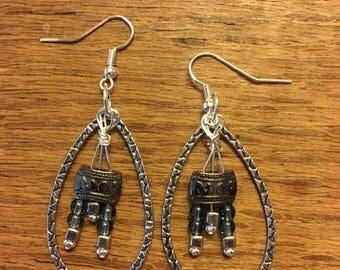 Earrings, silver plate, Czech glass
