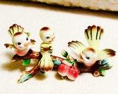 VALENTINE SALE Rare Happy Spring Bird Figurine Cherry Tree Branch Japan 1960s Anthropomorphic Kitsch Vintage