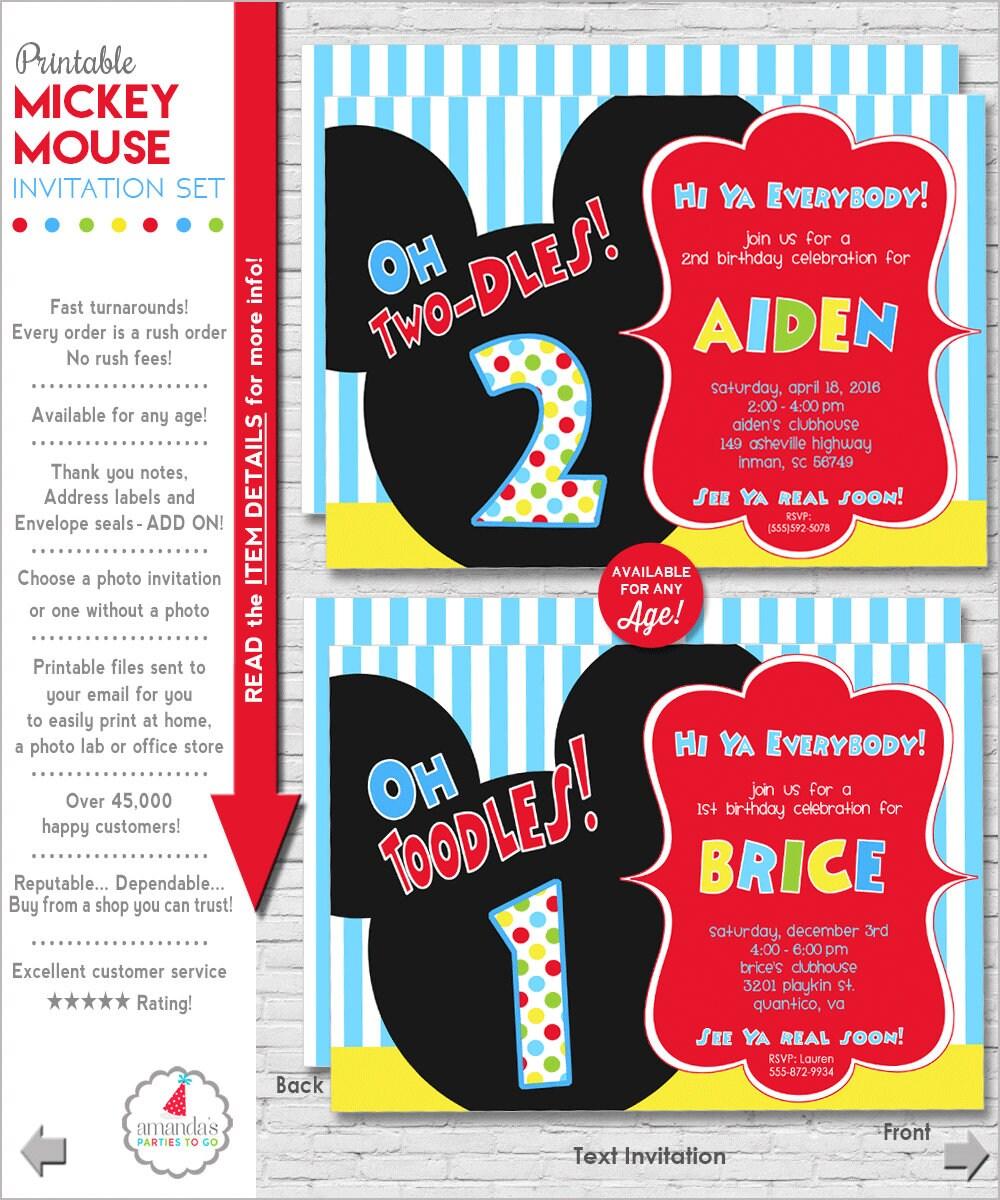 1st birthday mickey mouse invitation template jahrestal com