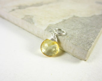 Genuine Citrine Jewelry - Sterling Silver Charms - Natural Citrine Pendant - Wire Wrapped Gemstone Jewelry - Interchangeable Jewelry
