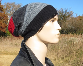 Men's Merino Wool Hat Slouch Beanie Black Red Gray Striped Cable Knit Tam A1333