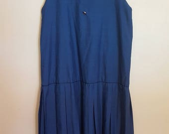 Vintage 1980's blue drop waist pleated skirt cotton secretary dress