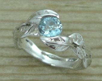 Aquamarine Engagement Ring, Leaves Aquamarine Engagement Ring, Aquamarine Leaf Engagement Ring, Leaves Ring, Natural Engagement Ring,