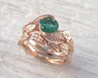 Leaves Engagement Set, Emerald Bridal set, Matching engagement ring wedding ring set, Leaf ring set, Rose gold leaves ring engagement set