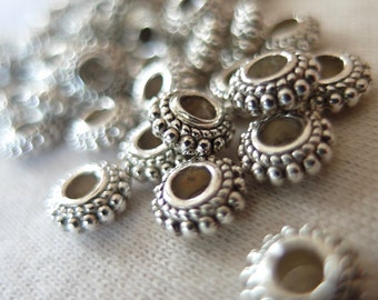 50pc Classic 8mm Silver Plated Heishe Daisy Antiqued Spacer Beads, 8mm wide,  3.5mm thick, 2.5mm hole