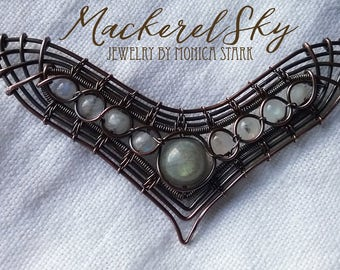 Nine Moons - labradorite and moonstone in hand woven copper