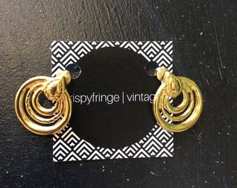 Free Shipping!: Groovy Gold 70's-Inspired Earrings With Clip On Backings