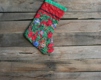 Vintage Green, Red, & White Quilted Christmas Stocking