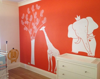 Baby Zoo King Elephant Wall Decal by LittleLion Studio: Showing Custom Color ALL White