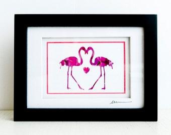 Kissing Flamingos, Paper Cut Silhouette