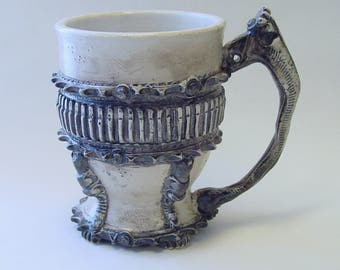 Frilled Gear Mug with Clutch Lever Handle and Spark Plugs